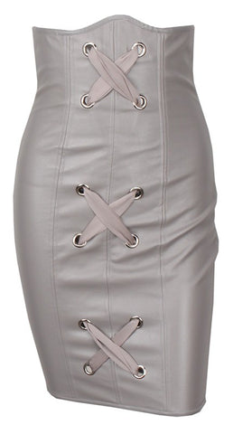 Laced Corset High Waist Leather Skirt - More Colors