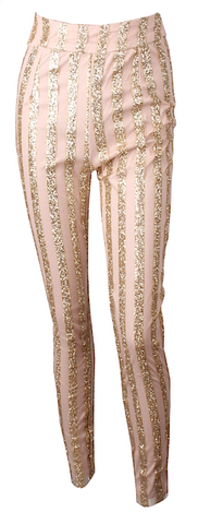 Barron High Waisted Sequin Striped Skinny Pants - Pink & Gold