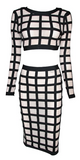 Nudia 2 Piece Checkered Bandage Dress Set - Beige & Black