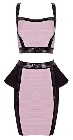 Molina 2 Piece Sequined Peplum Bandage Dress - Pink & Black
