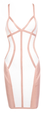 Latreece Contour Illusion Cut Out Bandage Dress - White & Peach