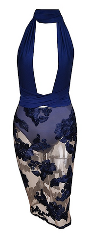 Naomi Lace Floral Multi-Way Dress - Royal Blue