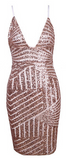 Mosha Geometric Sequin V-Neck Dress - Light Pink
