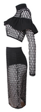 Coco 2-Piece Grid Net Bandage Dress - Black