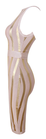 Claudia Golden Striped Bandage Dress - Light Pink
