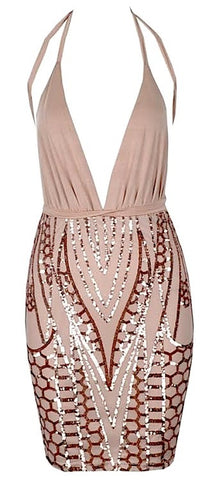 Gabrielle Plunging Neckline Sequin Dress - Nude
