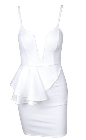 Genny Deep V-Neck Peplum Dress - White