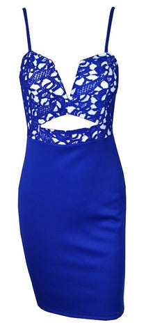 Donna Peep Hole Laced Dress - Royal Blue
