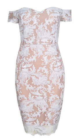 Miri Off Shoulder Lace Dress - White & Nude