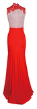 Desiree Sheer Lace & Crochet Contrast Maxi Dress - Red