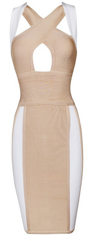 Kelsie Peek Hole Color Block Bandage Dress - Nude & White