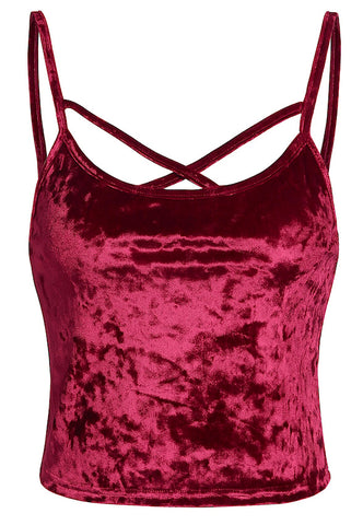 Velour Criss Cross Tank Top - Burgundy