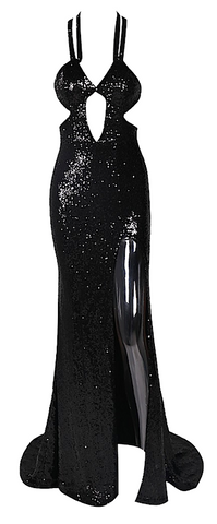 Bianca Cut Out Sequin Maxi Dress - Black