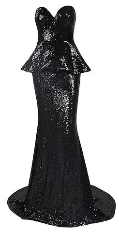 Sharletta Sequined Peplum Maxi Dress - Black