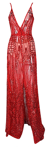 Zoey Semi Sheer Geo Sequined Maxi Dress - More Colors