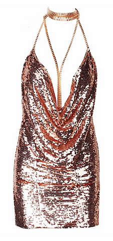 Trinity Rustic Gold Sequined Choker Mini Dress