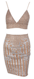 Lexe 2-Piece Striped Sequin Dress Set - Nude