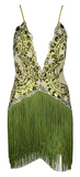 Gigi Fringed Deep Plunging Mini Sequined Dress - More Colors