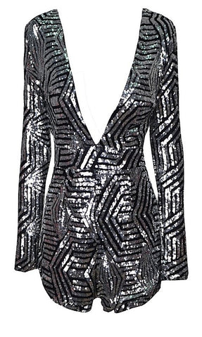 Morra Geo Sequined Romper - Charcoal Black