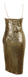 Maxima Sequin Knee Length Deep Plunge Bodycon Dress - Gold