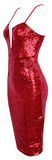 Maxima Sequin Knee Length Deep Plunge Bodycon Dress - Red