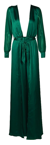 Mercury Satin Plunging Neckline Maxi Dress - Green