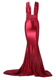 Madeline Satin Maxi Ball Gown - Red Wine