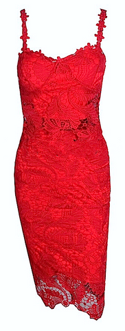 Ellie 2-Piece Crochet Dress - Red