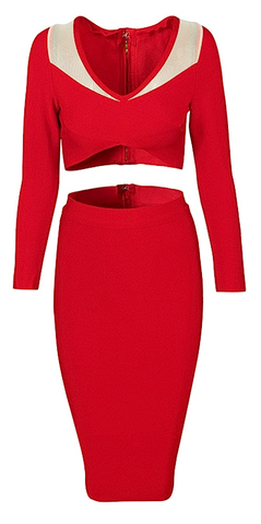Esperanza 2 Piece Long Sleeve Bandage Dress - Red
