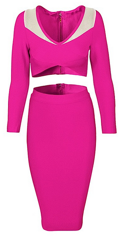 Esperanza 2 Piece Long Sleeve Bandage Dress - Pink