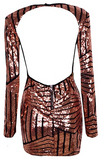 Gia Open Back Sequined Dress - Rustic Gold