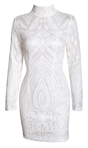 Olivia Geo Sequined Bodycon Dress - White
