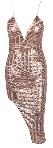 Toni Asymmetric Geo Sequined Mini Dress - Pink
