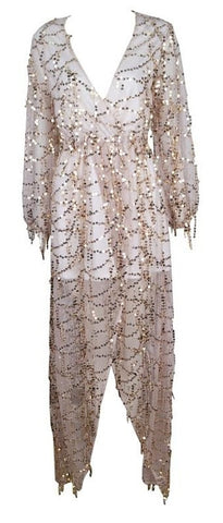 Alize Semi-Sheer Gold Sequined Chiffon Maxi Dress - White