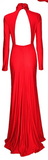 Carmen Cut Out Turtleneck Maxi Dress - Seductive Red