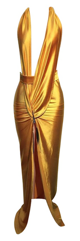 Grace Satin Tulip Wrap Maxi Dress - Gold