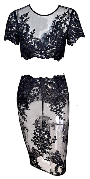 Samantha 2 Piece Semi Sheer Crochet Lace Dress Set - Black