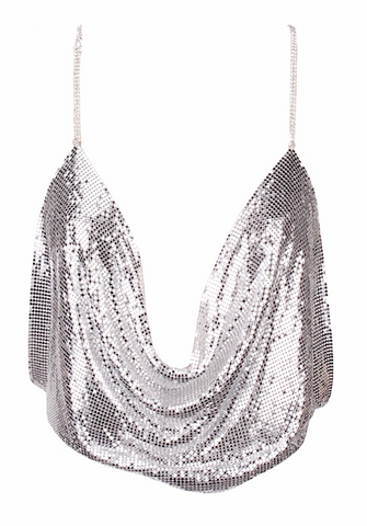 Deep Plunging Sequined Cropped Top - More Colors