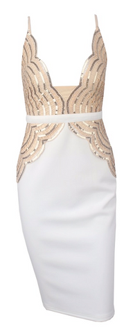 Georgia Empire Waist Sequined Dress - White