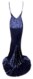 Shirlee Mermaid Midnight Blue Sequined Maxi Dress