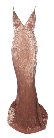Shirlee Mermaid Gold Sequined Maxi Dress
