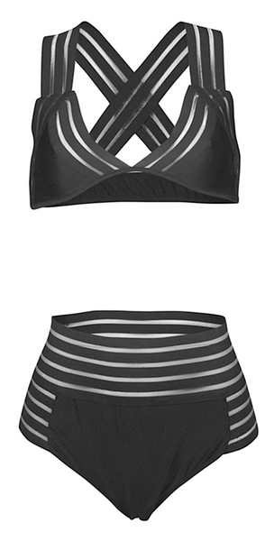 Allan Striped Mesh High Waist Bikini Set - Black