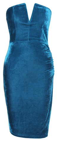 Katie Velvet Strapless Dress - Teal Blue
