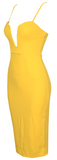 Joline Deep Plunge Body-con Dress, Mustard Yellow - ONLY 1 LEFT!