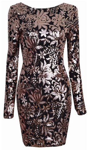 Magnolia Gold Sequin Floral Dress - Black