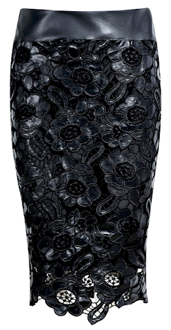 Crochet Leather Floral Pencil Skirt - Liquid Black