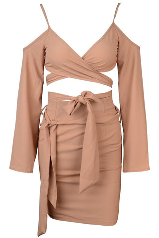 Lelia Two Piece Off Shoulder Dress - Nude