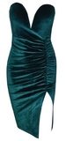 Zora Scrunched Velour Strapless Dress - Emerald Green