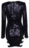 Evelyn Cut Out Sequined Long Sleeve Dress - Black