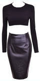 Donni 2-Piece Leatherette Body-con Dress, Black - ONLY 2 LEFT!